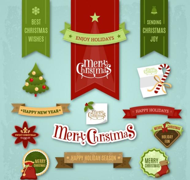 vector christmas sticker designs