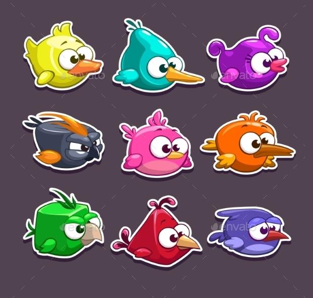 funny bird stickers