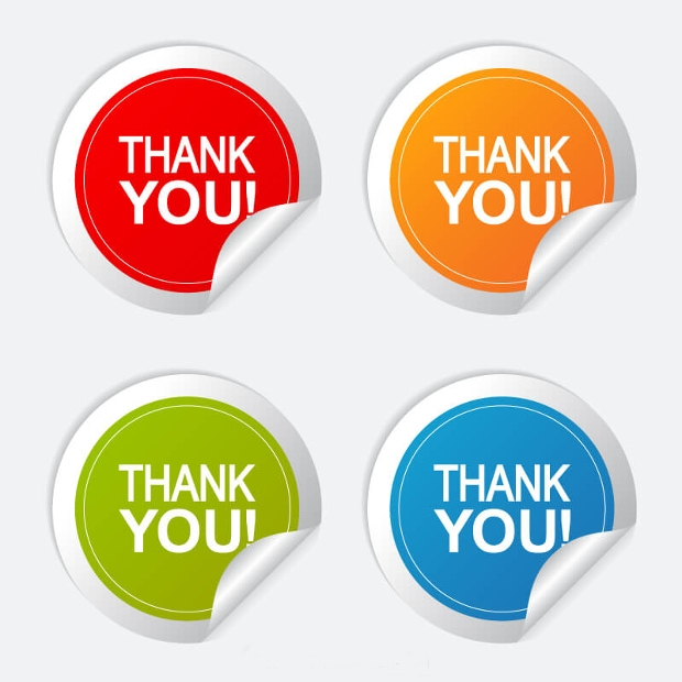 thank you round stickers