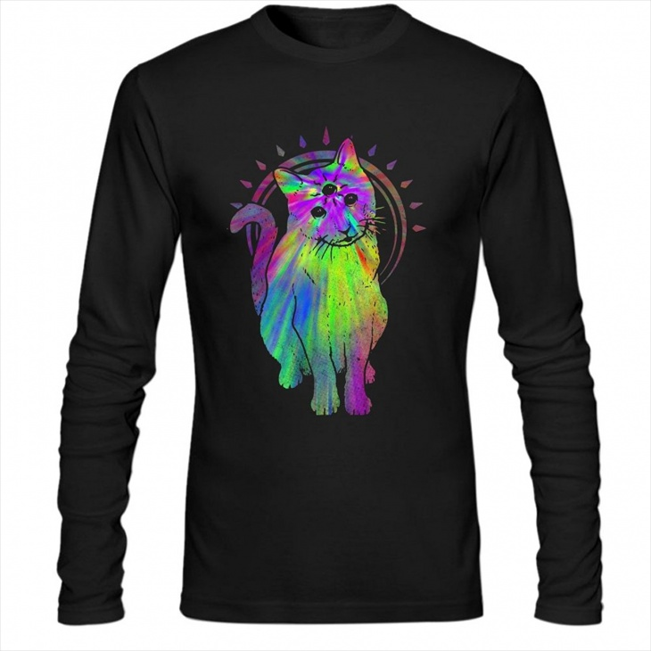 psychedelic cat t shirt for men
