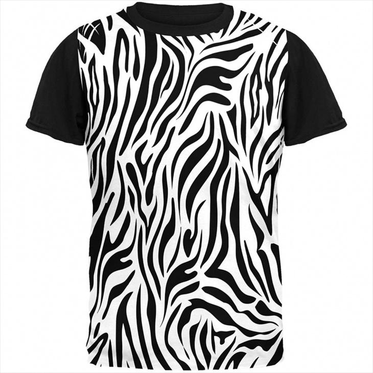Zebra Stripes Print T Shirt for Men