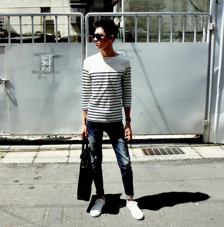 mens black and white striped t shirt