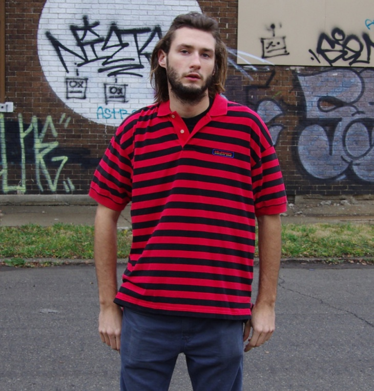 Mens Red and Black Striped T Shirt