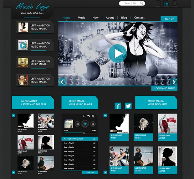 music website application template
