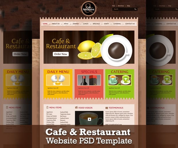 cafe and restaurant website psd template