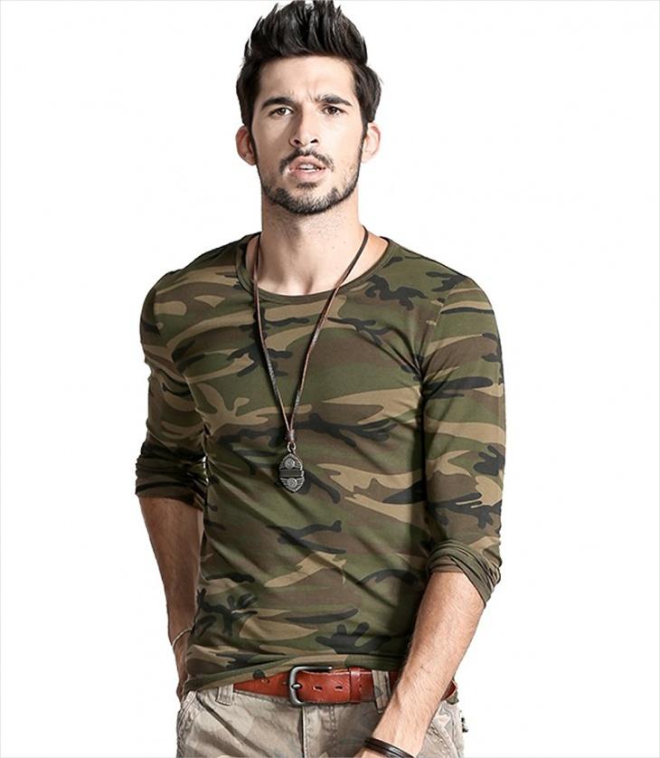 Men's Camo Long Sleeve T Shirt
