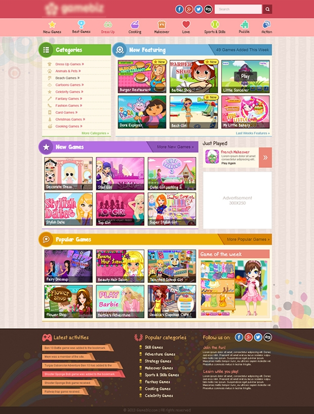 online gaming website template