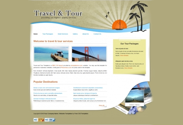 travel free website template