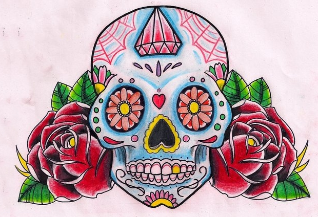 sugar skull and rose drawing
