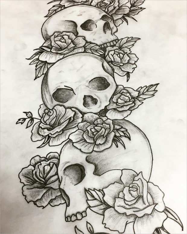Black and White Skull and Rose Drawing