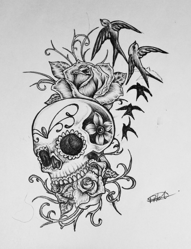 Candy Skull and Rose Drawing