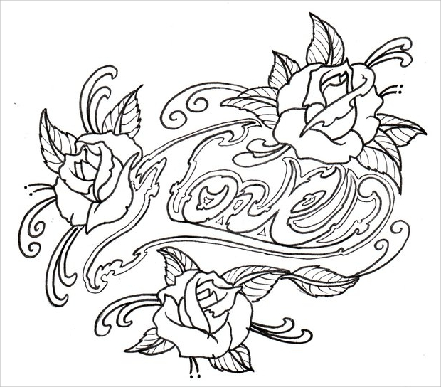 Traditional Rose Drawing Outline