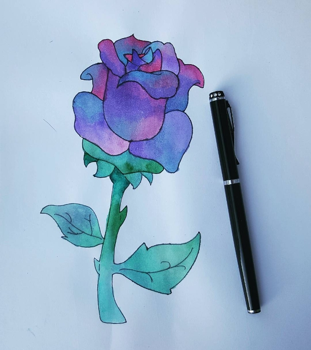 Tribal Blue Rose Drawing