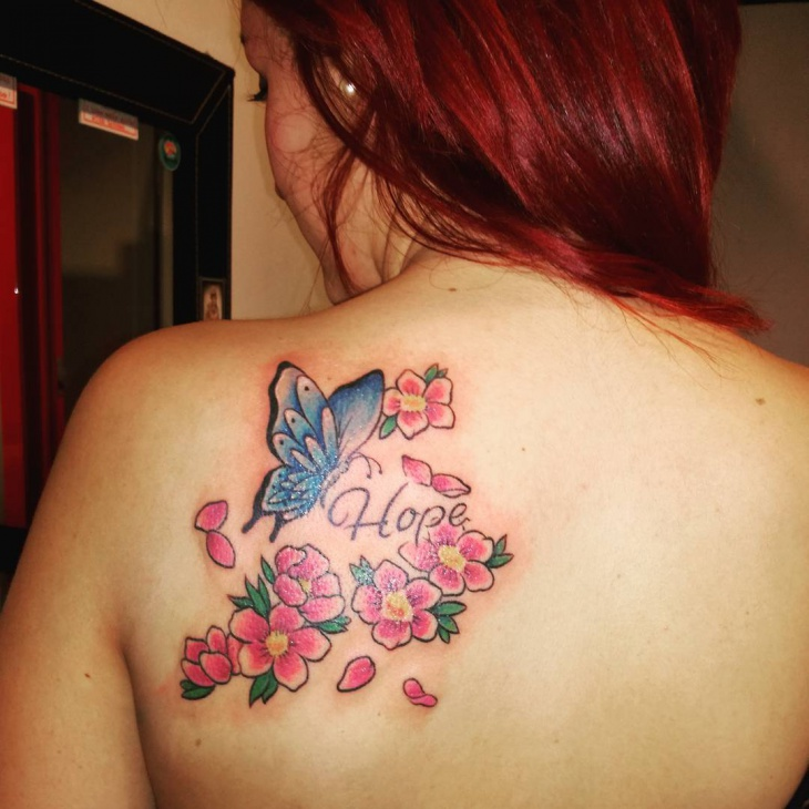 butterfly tattoo design on back shoulder