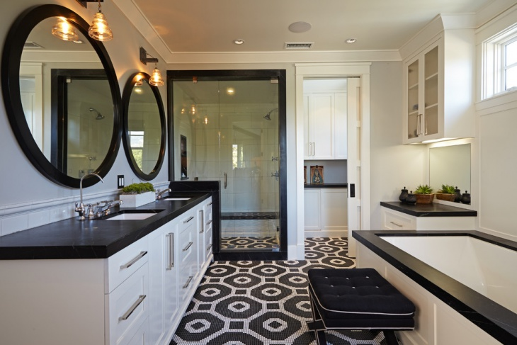 Black and White Bathroom Floor Design