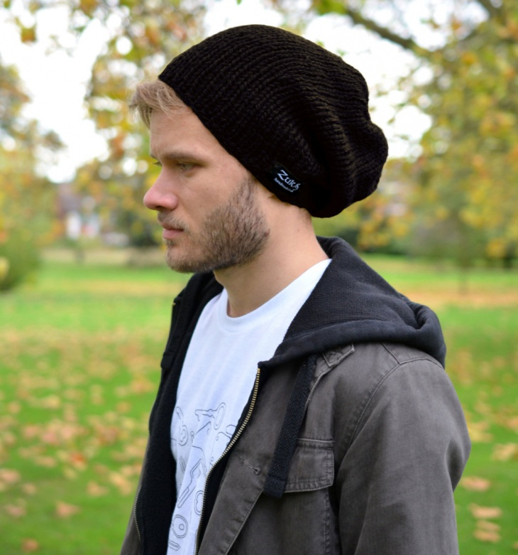 Mens Black Beanie Hat