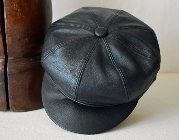 Mens Leather Flat Hat