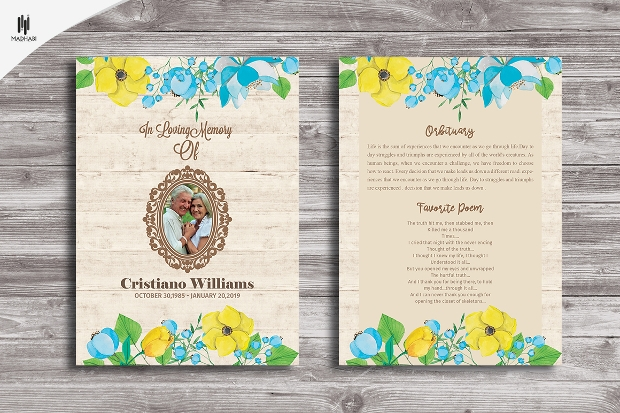 Funeral Anouncement Card Template