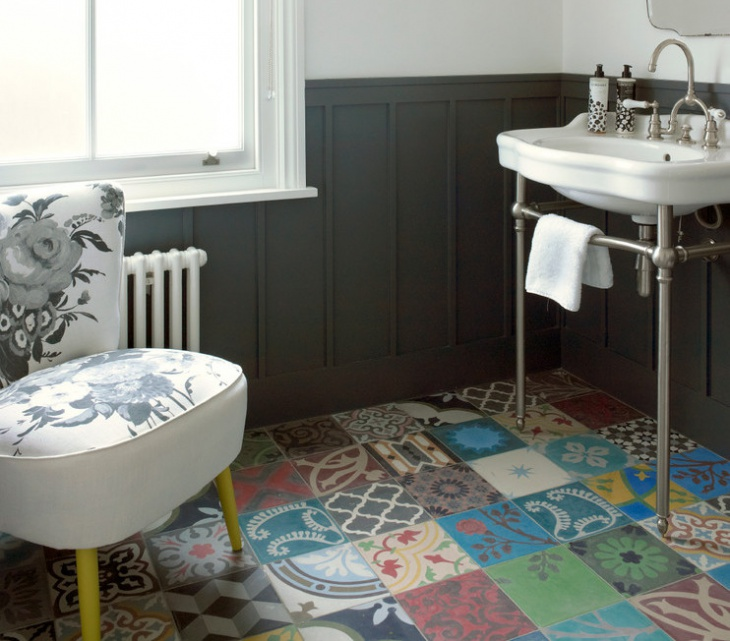 Colorful Bathroom Floor Design