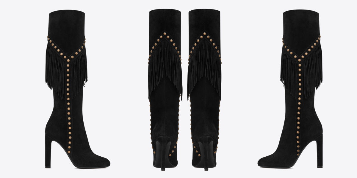 saint laurent grace 105 y studded fringed boot in black suede