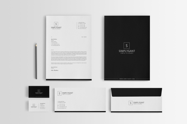 minimal corporate stationery