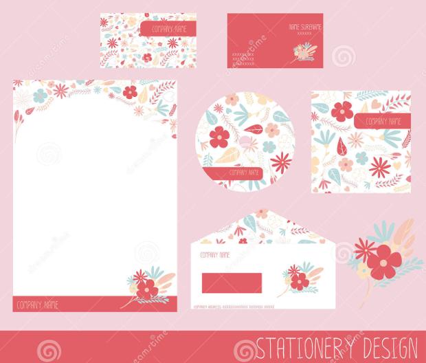 blank floral stationery design