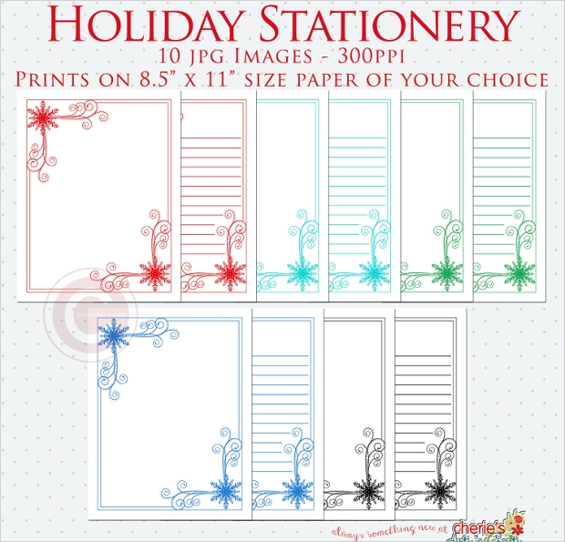 printable holiday stationery