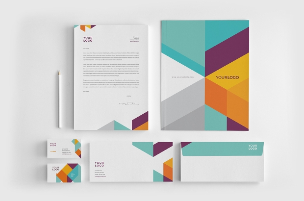modern colorful stationery design