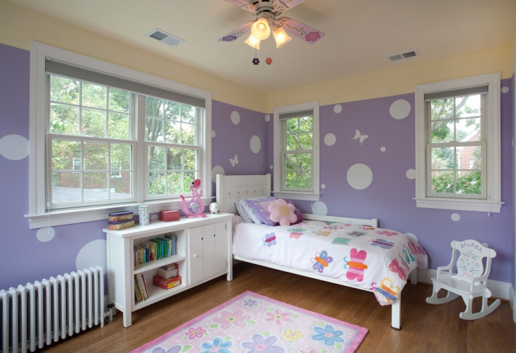 Purple And White Kids Room Design