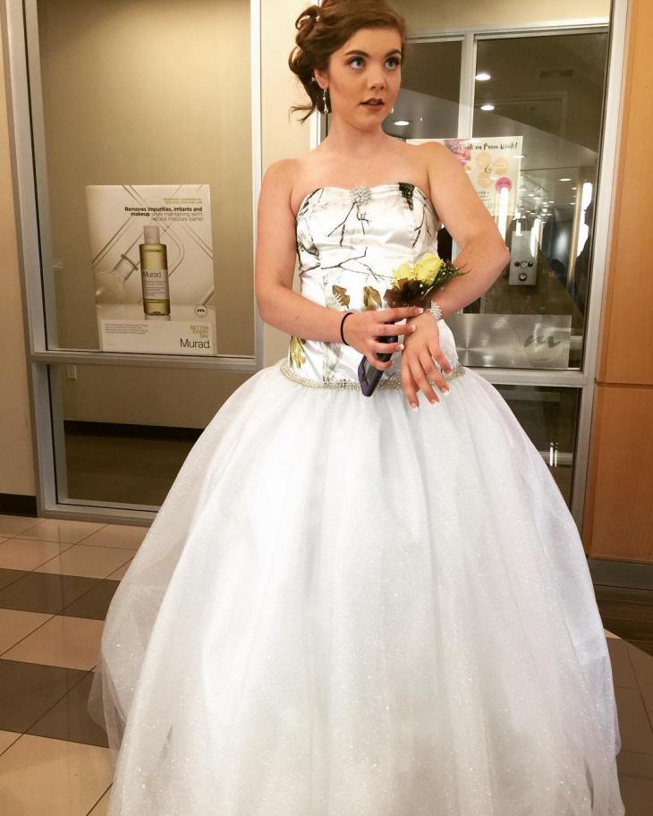White Camo Prom Dress