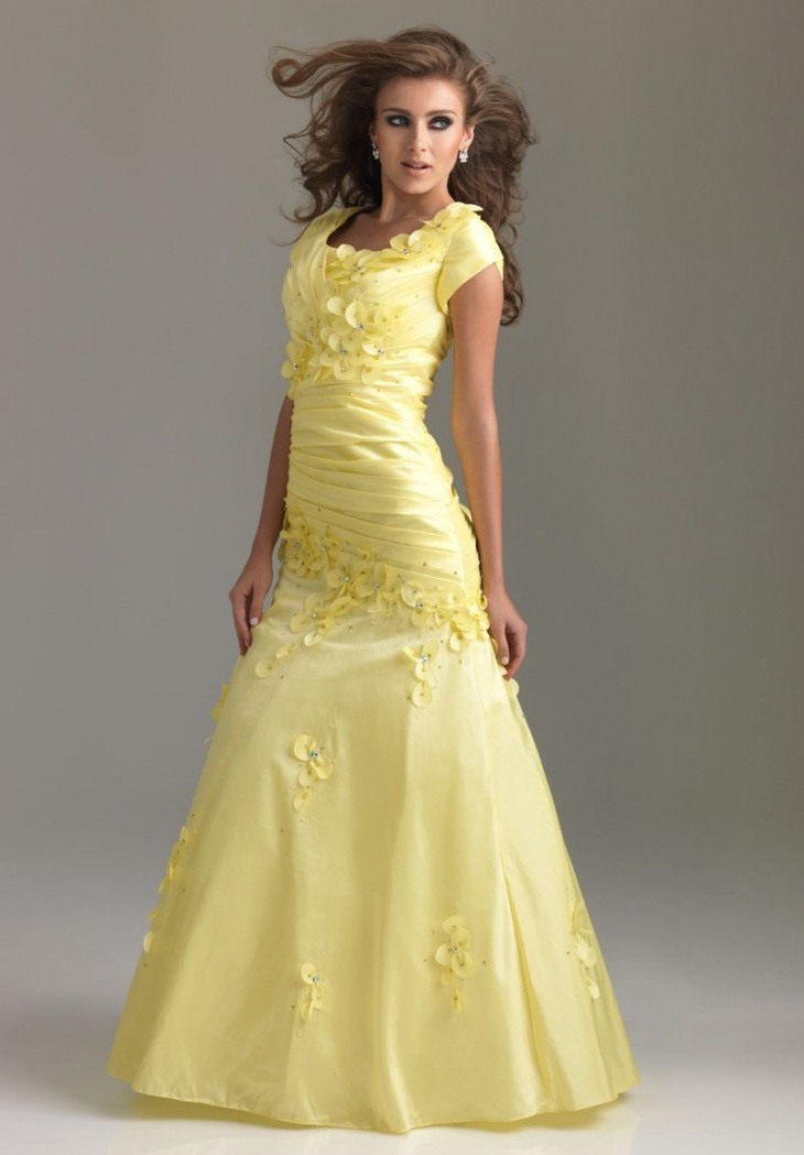 modern prom dress with sleeves