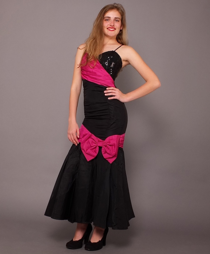 pink and black prom dress