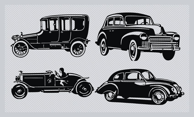 vintage car silhouette