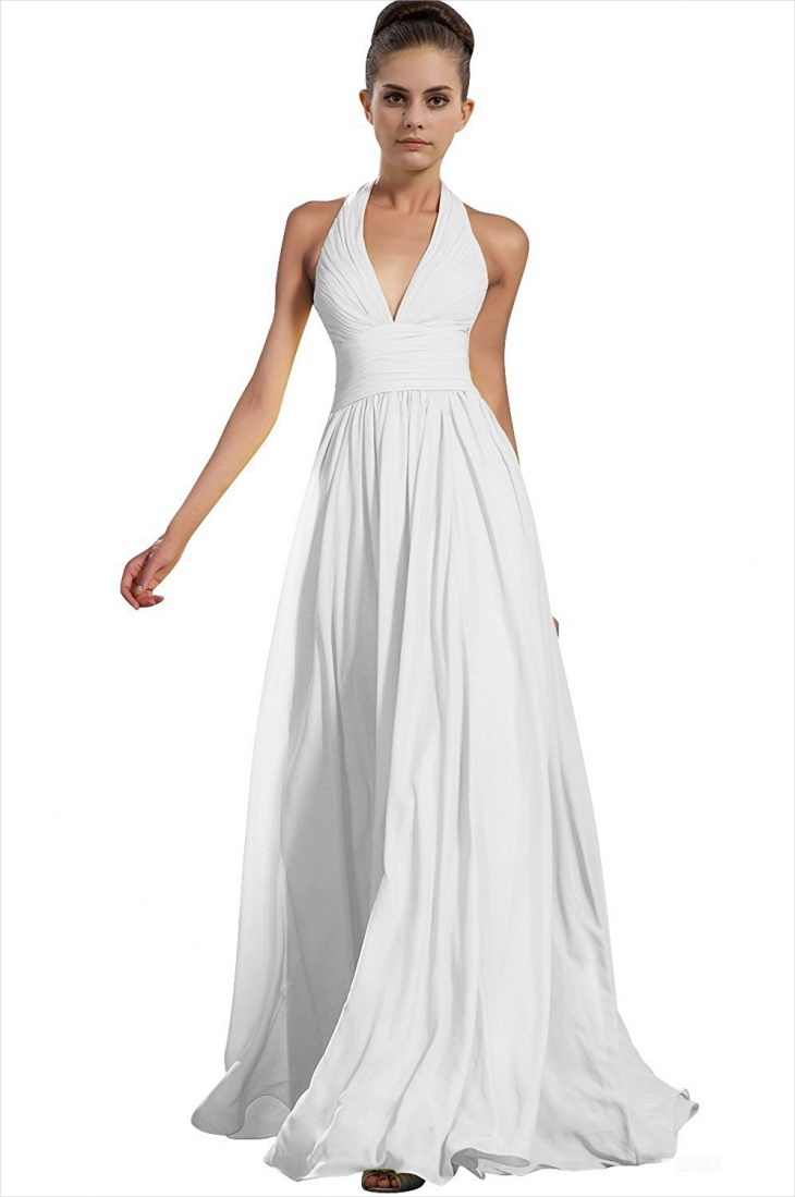 white halter prom dress