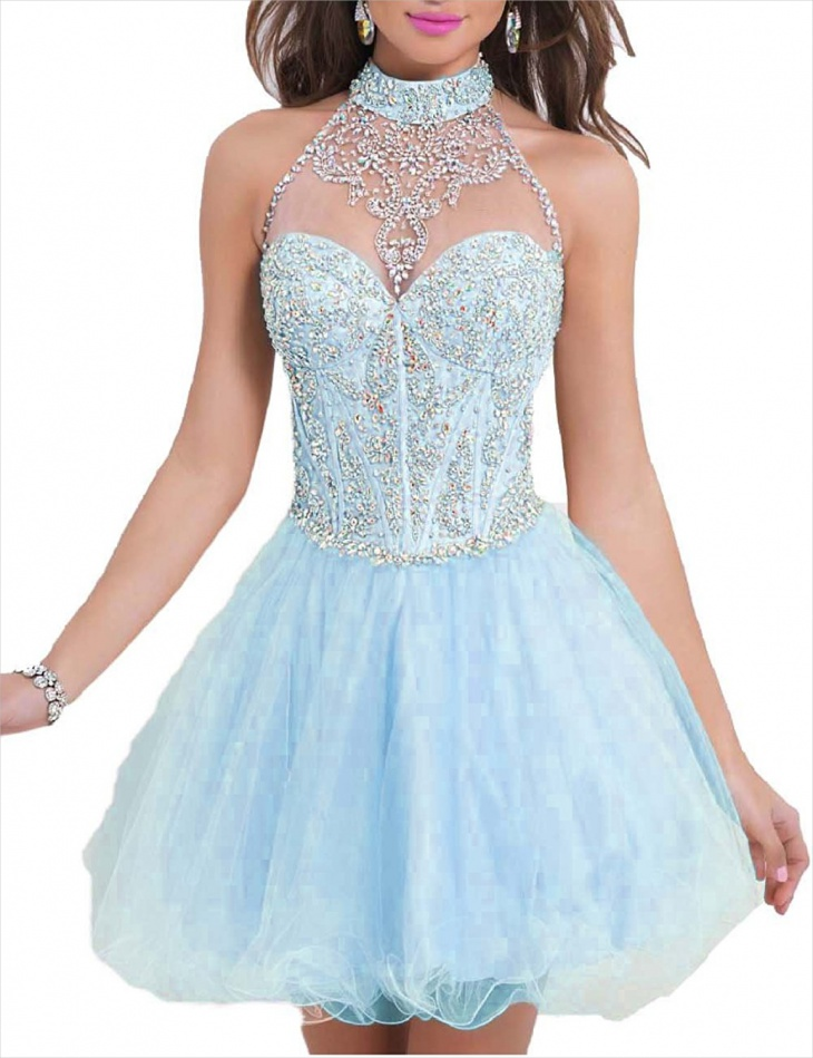 beaded halter prom dress