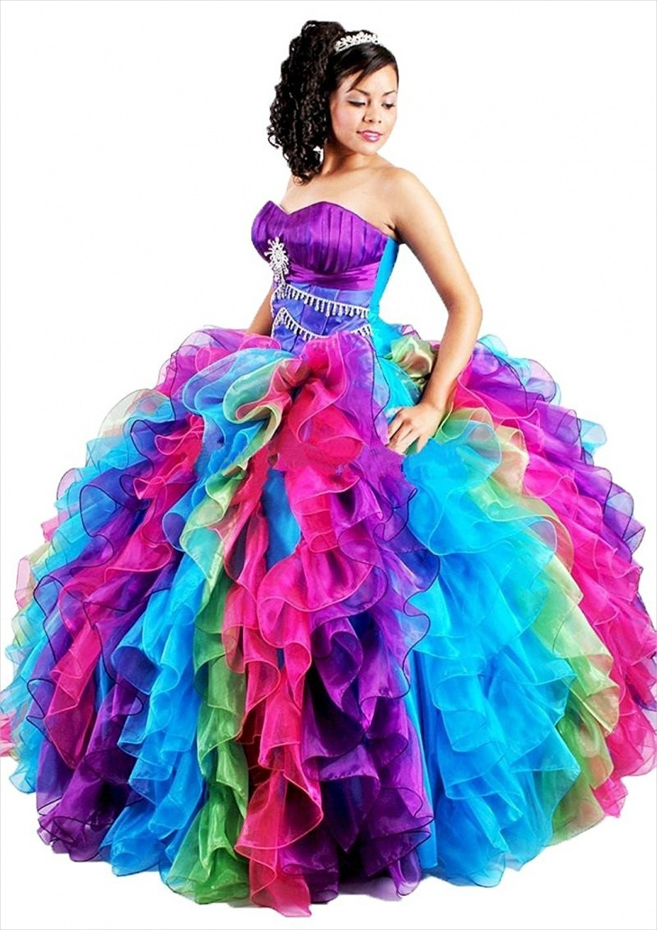 puffy rainbow prom dress