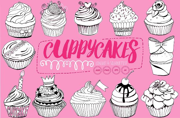 cupcake line art silhouette