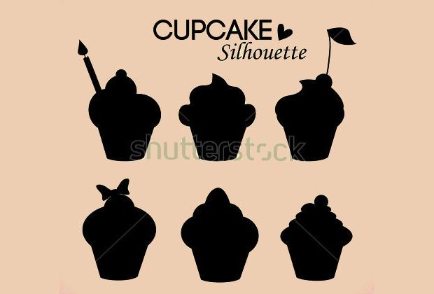 delicious cupcake silhouette