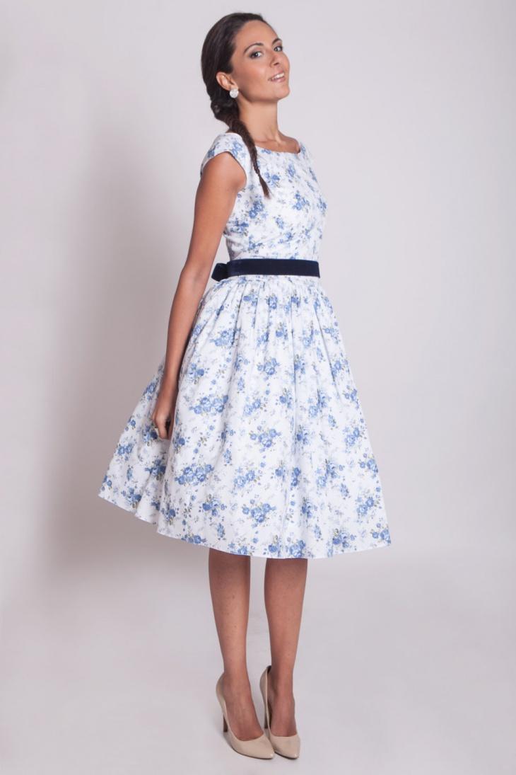 Blue Floral Prom Dress