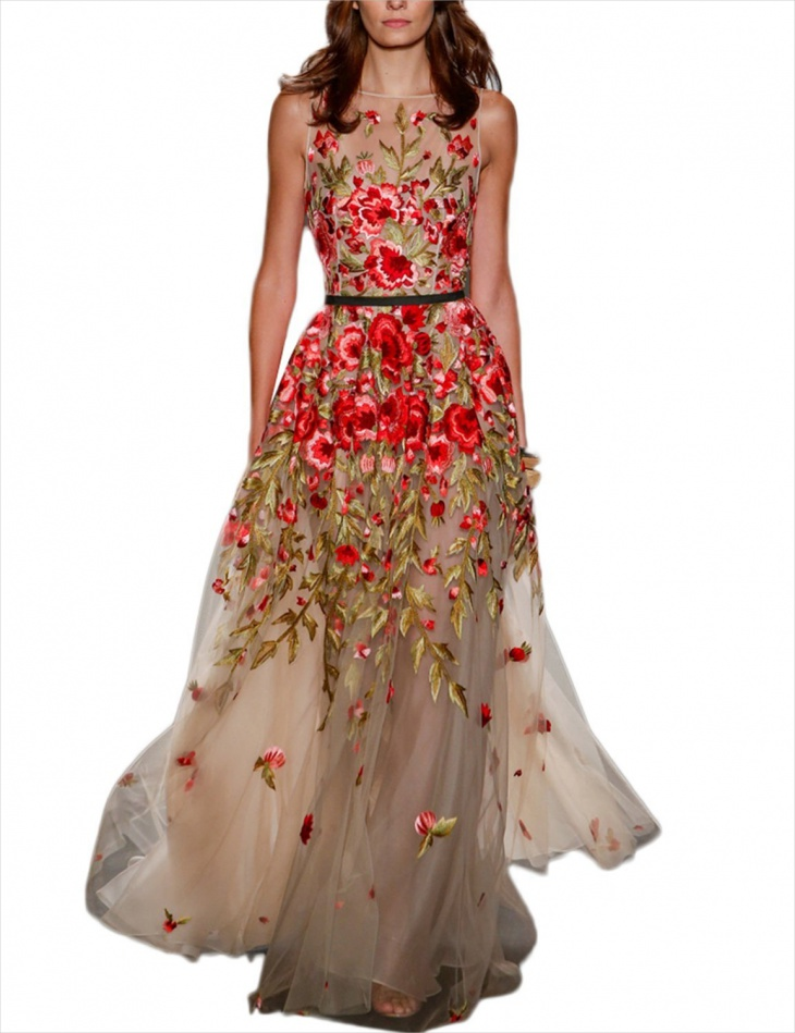 Lace Floral Prom Dress