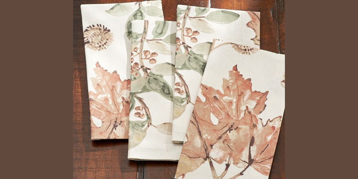 watercolor leaves napkin
