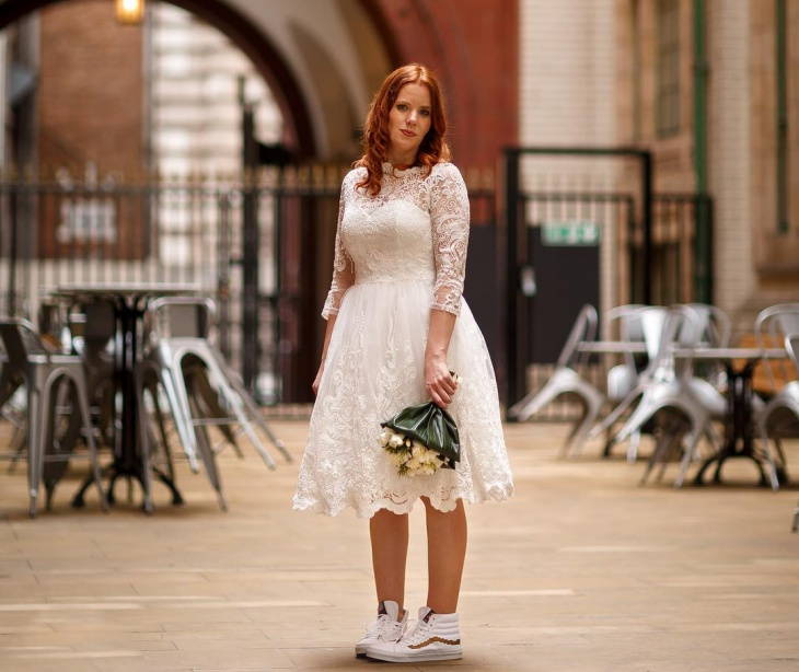short full sleeve wedding dress1