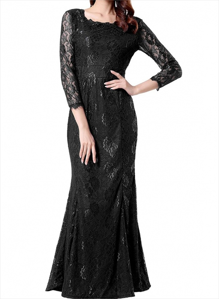 long sleeve black wedding dress