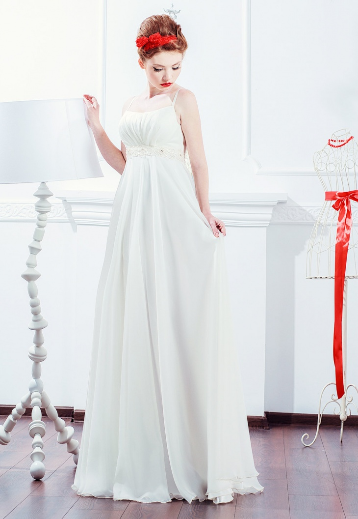 white wedding reception dress