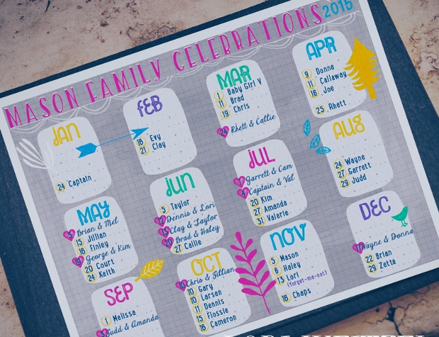 Birthday Wall Calendar Design