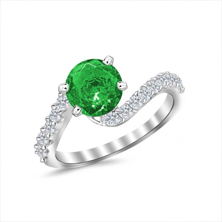 Diamond Emerald Engagement Ring
