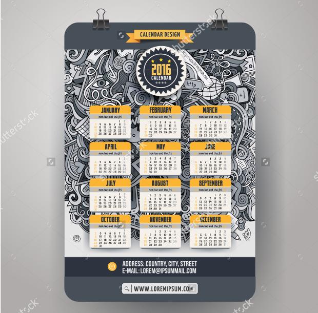 doodle social media calendar template