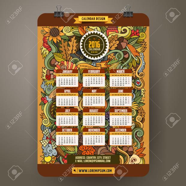 Thanksgiving Day Calendar Template