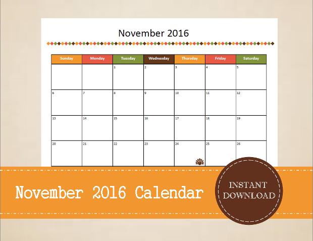 Printable Thanksgiving Calendar
