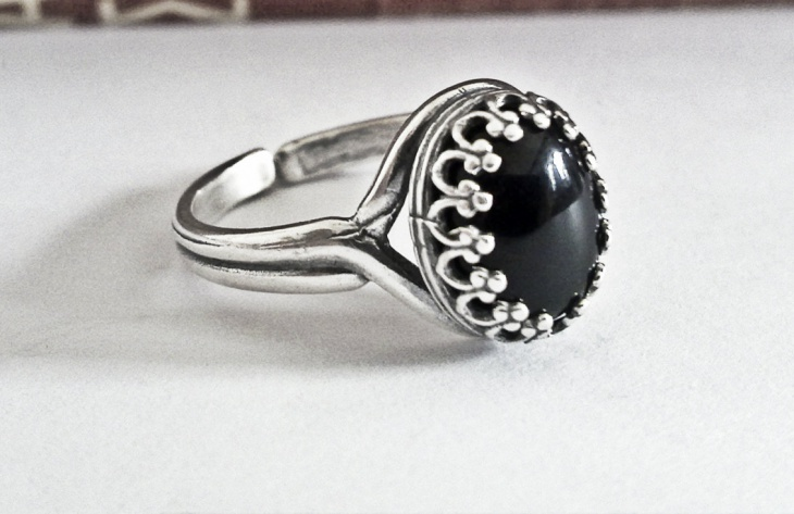 black silver engagement ring
